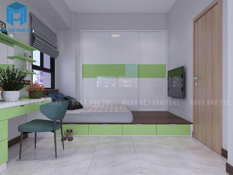 giường ngủ:  Phòng ngủ nhỏ by Công ty TNHH Nội Thất Mạnh Hệ