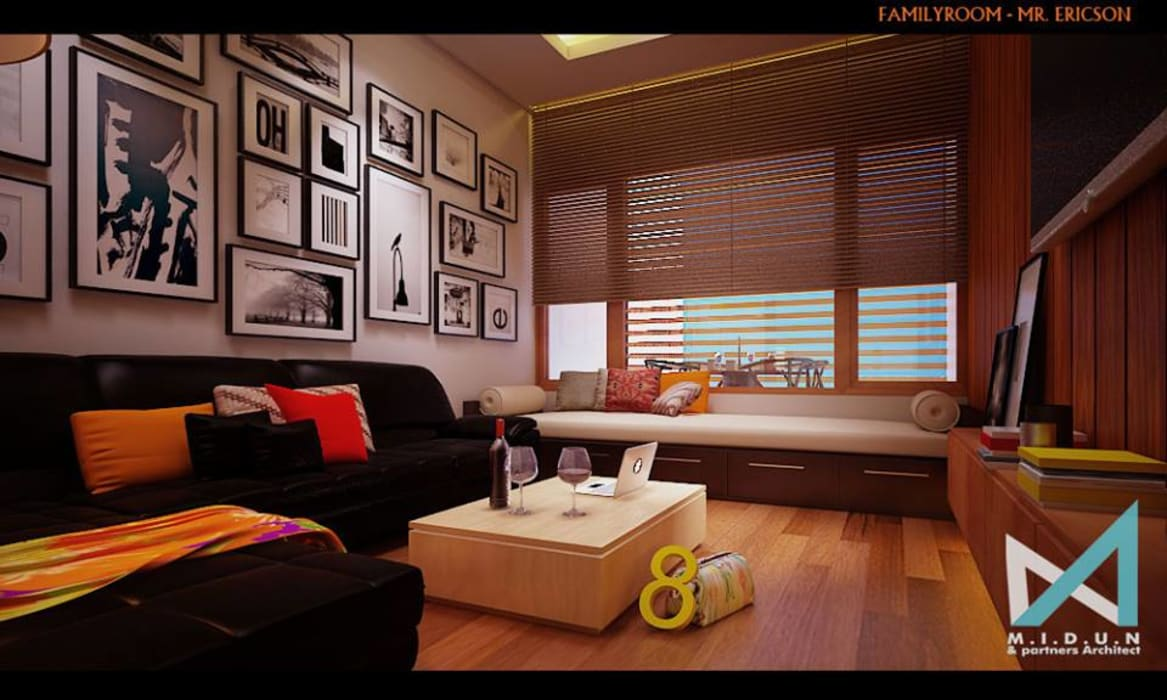 ER HOUSE midun and partners architect Ruang Keluarga Gaya Eklektik