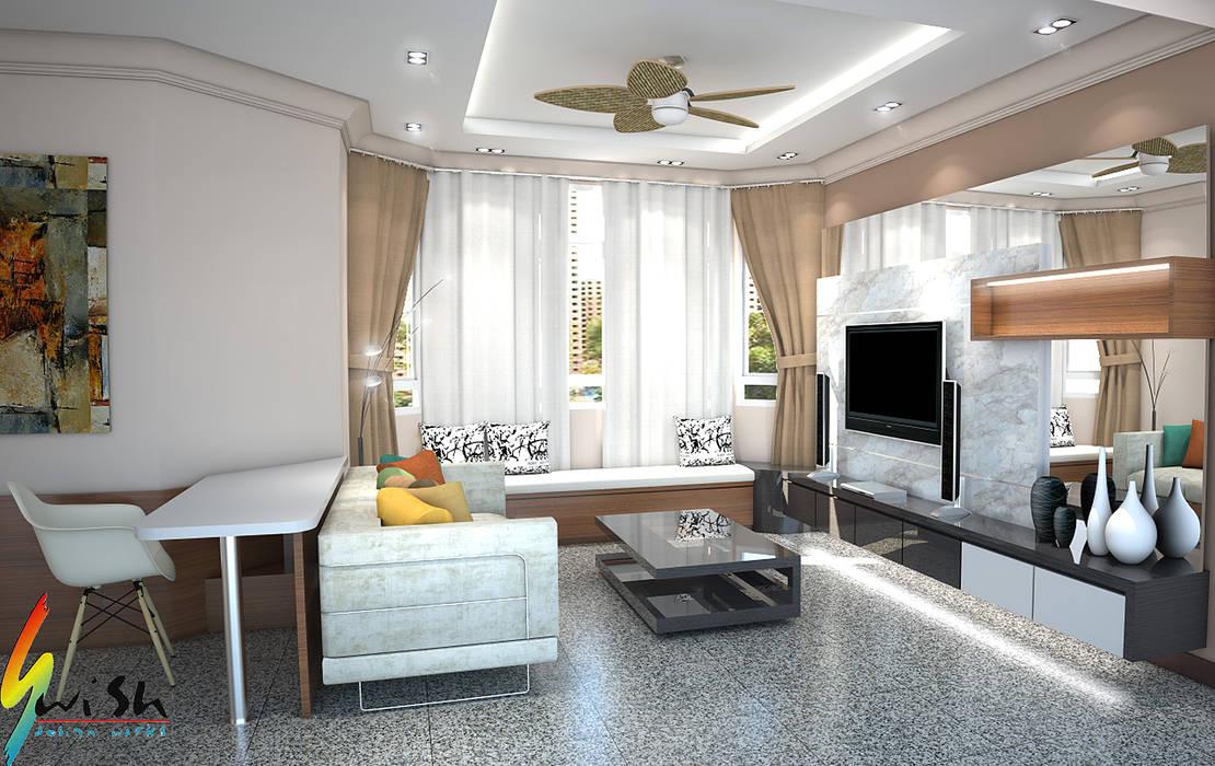 Maysprings:  Living room by Swish Design Works