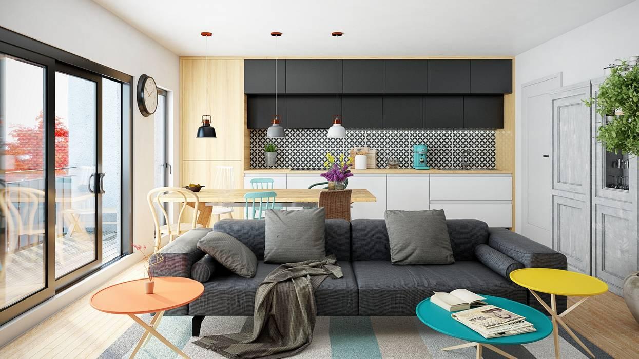 Otwarta kuchnia z okapem Loteo: styl , w kategorii Kuchnia zaprojektowany przez GLOBALO MAX