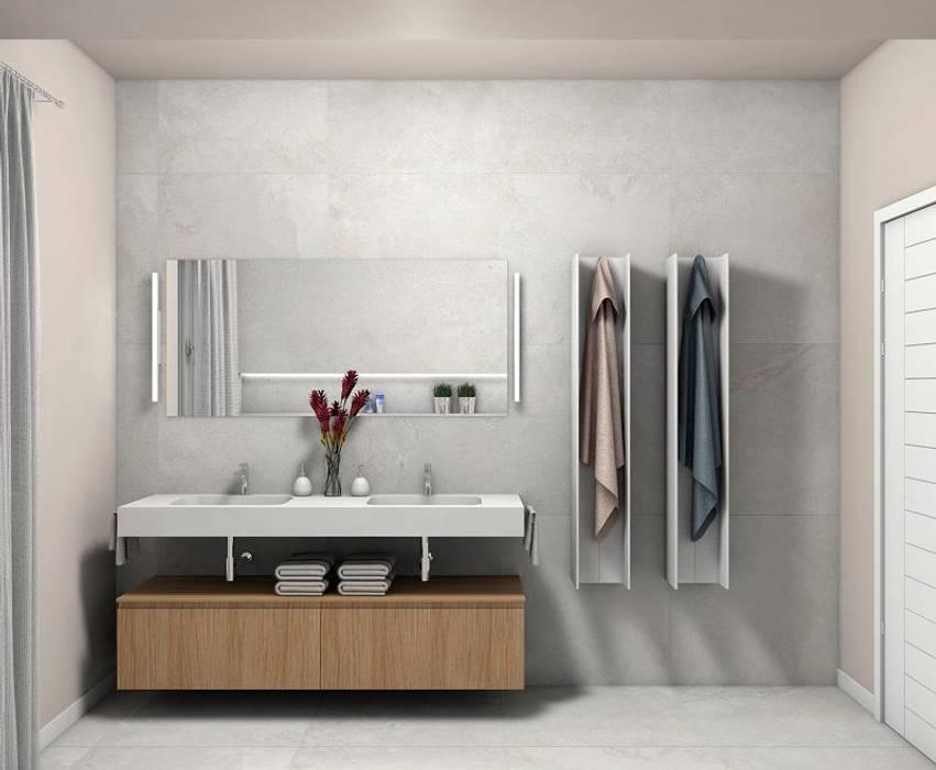 bagno moderno in piastrelle chiare Bagno moderno di Fratelli Pellizzari spa Moderno Piastrelle