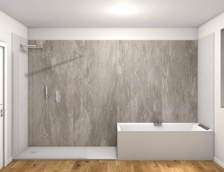 Lato vasca e doccia walk in bagno moderno di fratelli for Bagno moderno doccia