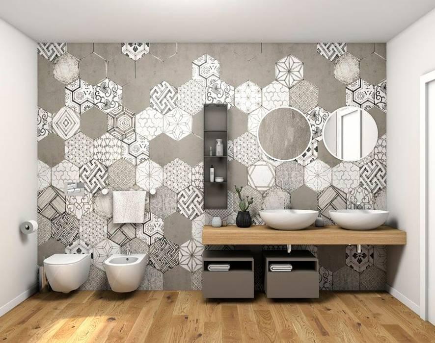 Il lato del bagno con le cementine esagonali bagno in stile di