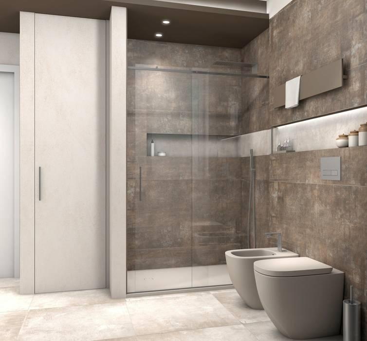 Bagno scuro con nicchia chiara illuminata Bagno moderno di Fratelli Pellizzari spa Moderno Piastrelle