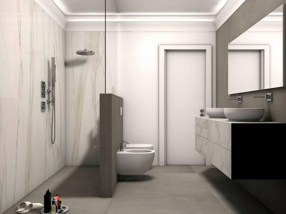 bagno elegante vista interno doccia: Bagno in stile  di Fratelli Pellizzari spa