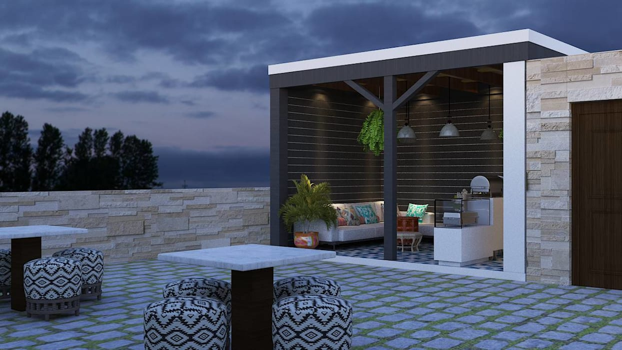 Independent House Project by MAD DESIGN:  Terrace by MAD Design,Rustic