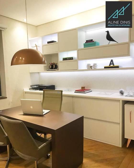 Aline Dinis Arquitetura de Interiores Espaces commerciaux modernes MDF Blanc