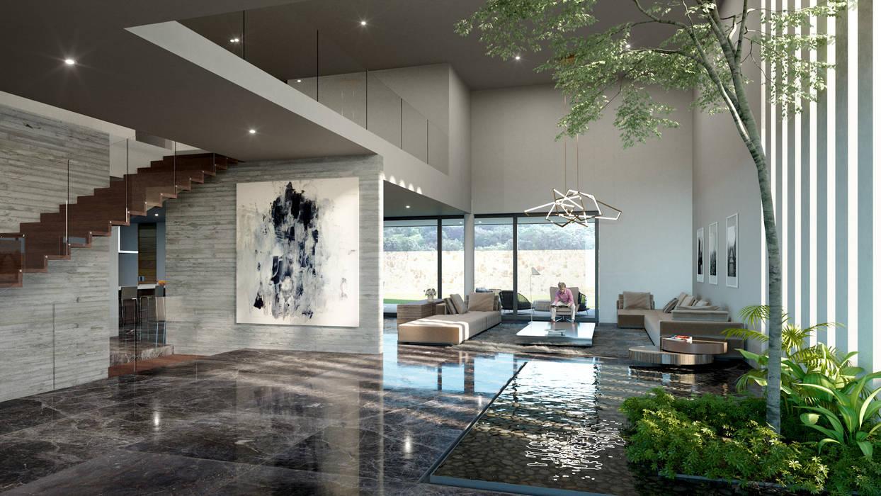 Modern corridor, hallway & stairs by HAC Arquitectura Modern