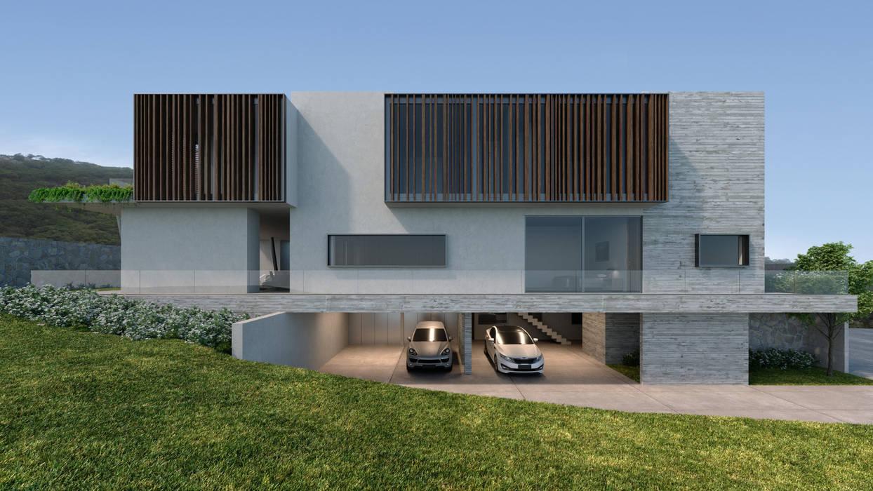 Fachada sur Casas estilo moderno: ideas, arquitectura e imágenes de HAC Arquitectura Moderno