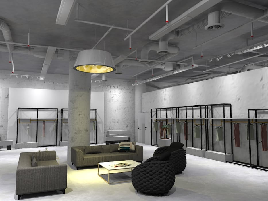 Ruang Santai Tamu x Etalase Studié Pusat Perbelanjaan Gaya Industrial