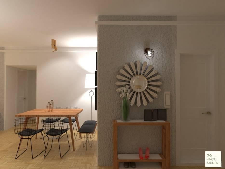 Acceso a la viviendoa con botinero: Pasillos y recibidores de estilo  por Arquimundo 3g - Diseño de Interiores - Ciudad de Buenos Aires