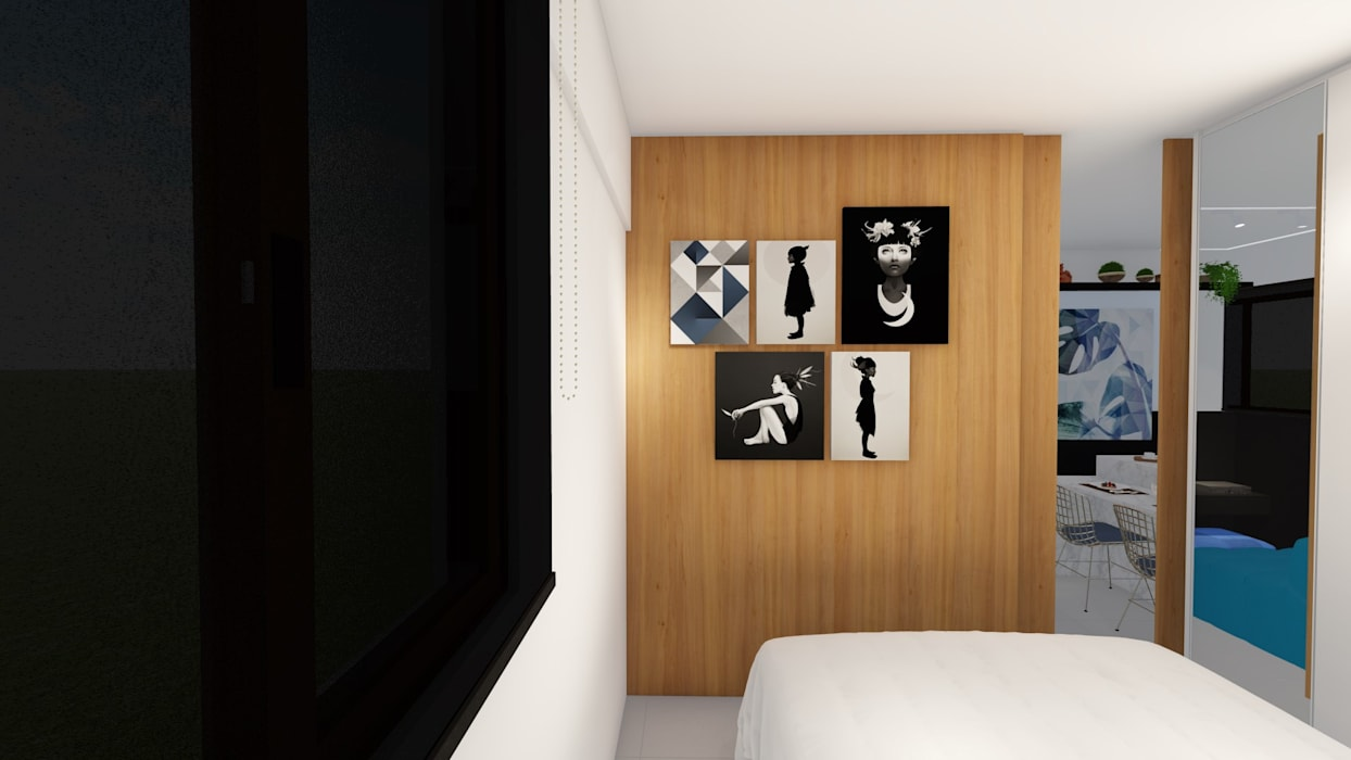Phòng ngủ nhỏ theo Sônia Beltrão Arquitetura , Hiện đại MDF