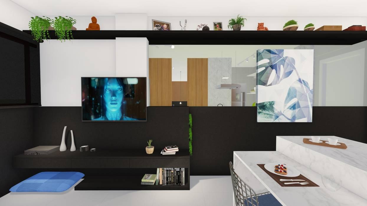 Sala/ Espelho/ Quadro/ Vegetação/ Decoração: Salas de estar  por Sônia Beltrão Arquitetura ,Moderno MDF