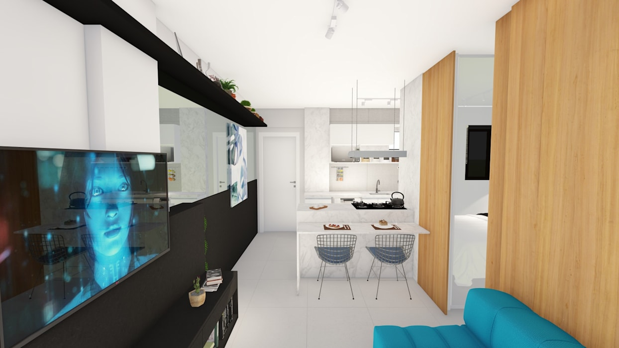 Estar/ Jantar/ Madeira/ Móvel/ Espelho/ Salas de estar modernas por Arquitetura Sônia Beltrão & associados Moderno MDF