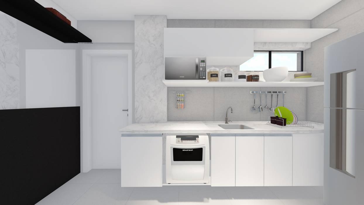 Cocinas pequeñas de estilo  por Sônia Beltrão Arquitetura , Moderno Cuarzo