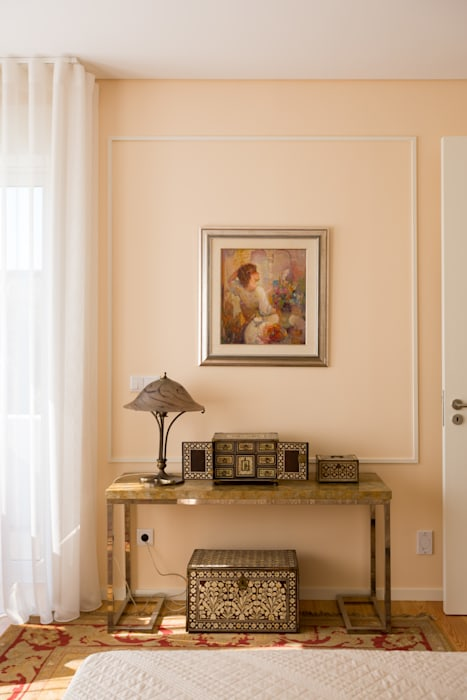 Quarto - Moradia em Leça da Palmeira - SHI Studio Interior Design: Quartos pequenos  por SHI Studio, Sheila Moura Azevedo Interior Design