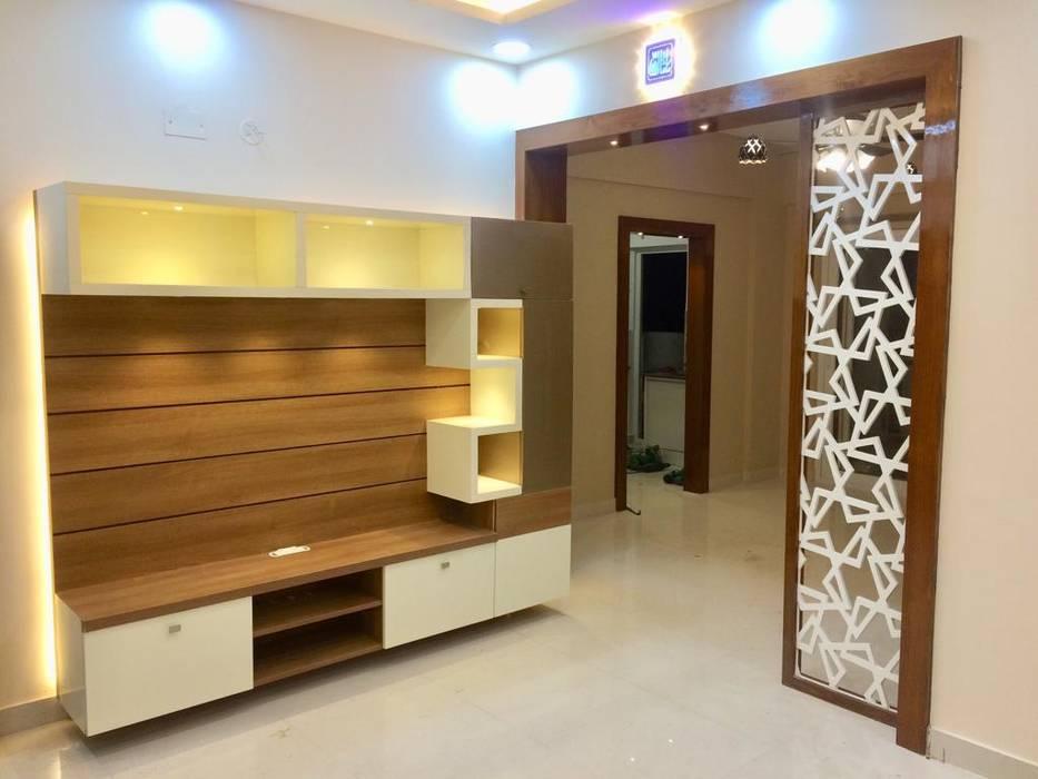 Mrs.Alifiya's Residence, Mahaveer Reviera, J.P.Nagar, Bangalore:  Living room by Design Space