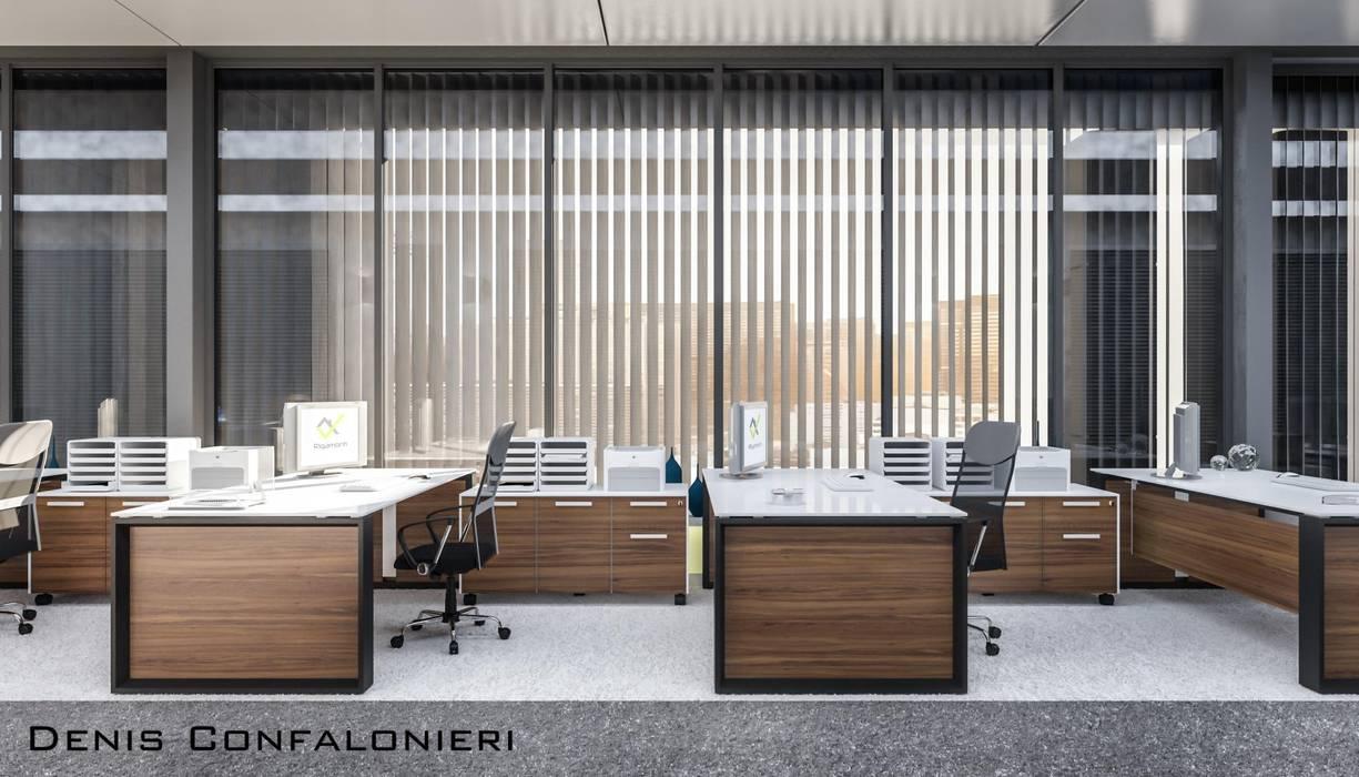 Open space: Complessi per uffici in stile  di Denis Confalonieri - Interiors & Architecture