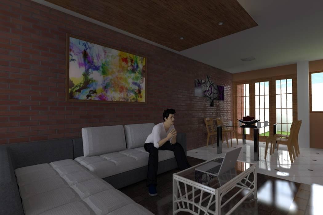 Sala recibidor Salas modernas de ARDI Arquitectura y servicios Moderno Concreto