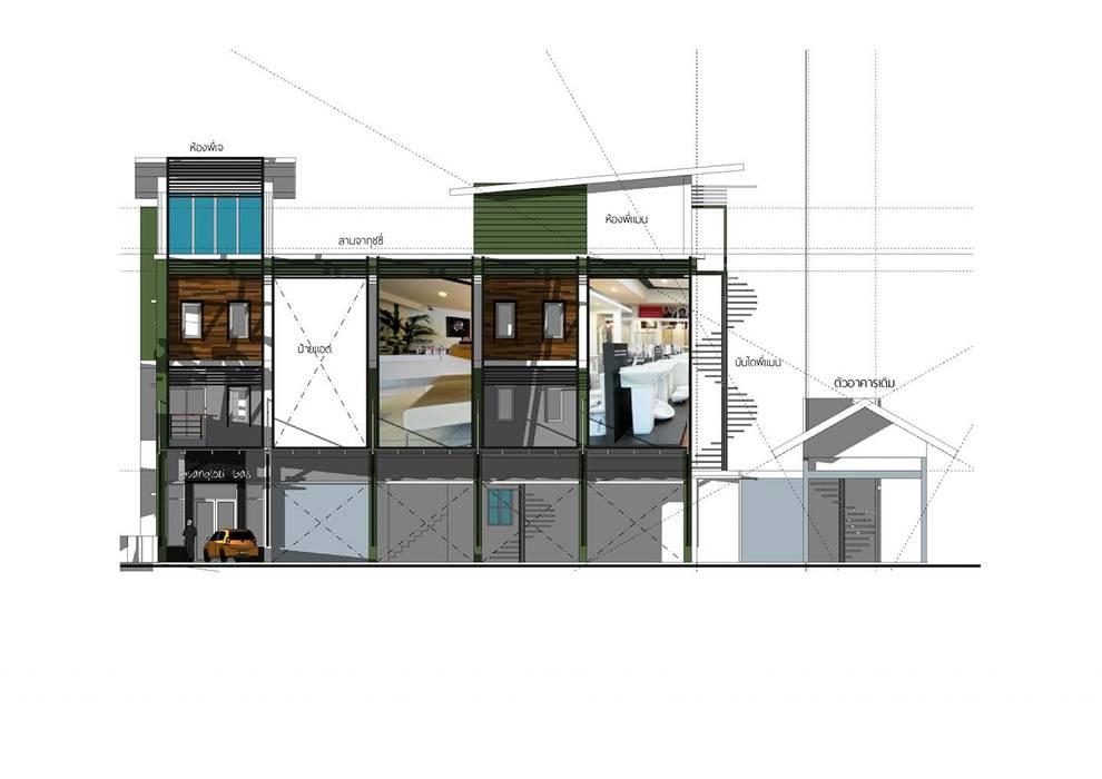 Project : งานออกแบบอาคารพานิชย์ โดย Hip and Classic Design Studio ผสมผสาน