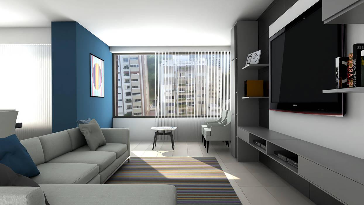 sala de estar : Salas de entretenimiento de estilo  por Proyectos C&H C.A,