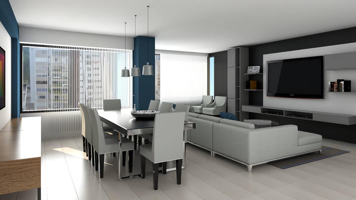 sala comedor: Salas / recibidores de estilo  por Proyectos C&H C.A, Moderno