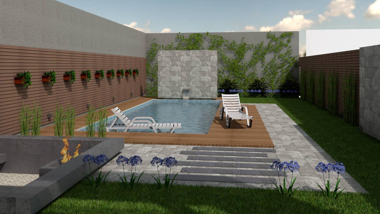 Kolam renang halaman oleh viviendas de autor, Modern Kayu Wood effect
