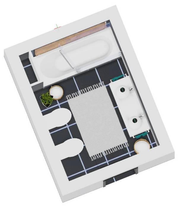 Planta 2D WC Suite: Casas de banho  por SweetYellow