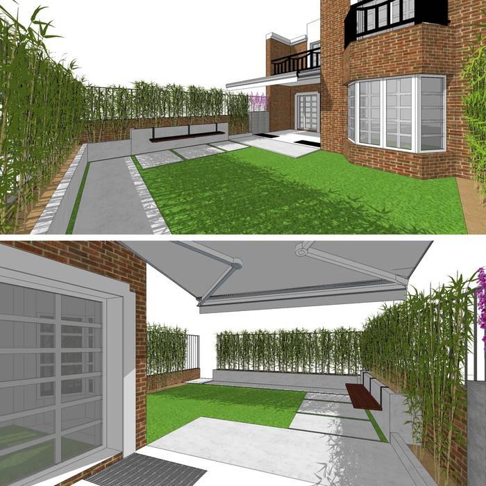 | DISEÑO DE JARDÍN | VeRsIóN 5 - vivienda: Jardines con piedras de estilo  de RR Estudio Interiorismo en Madrid, Moderno Bambú Verde