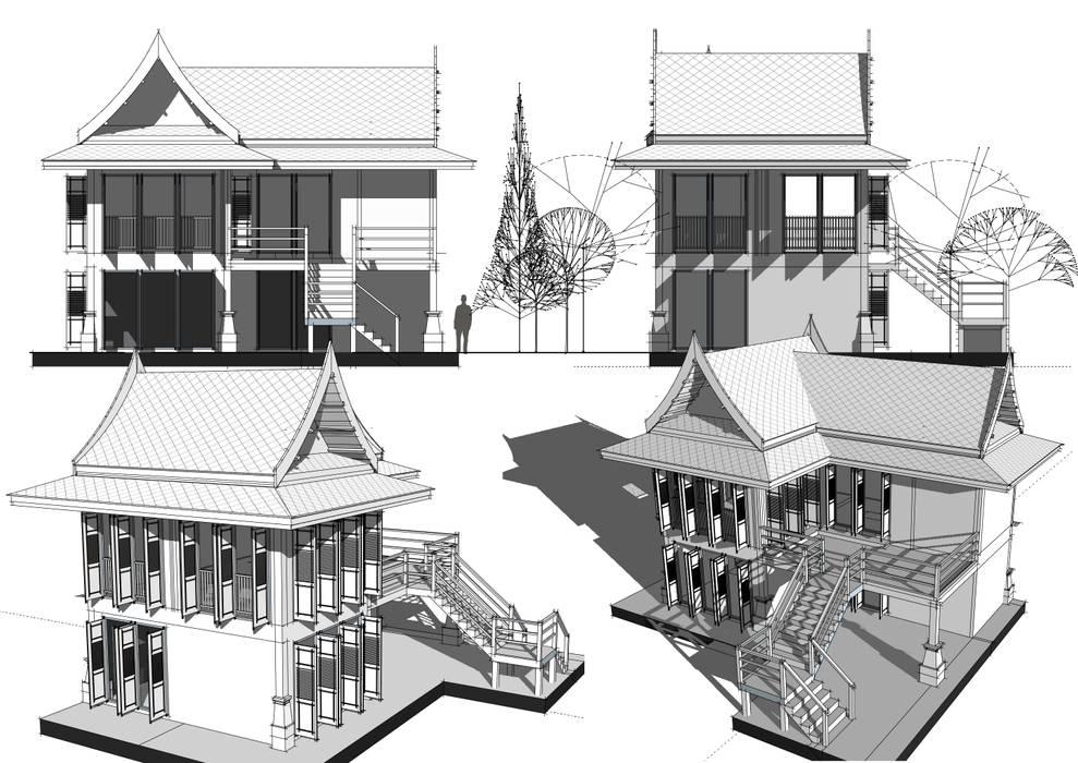 เรือนไทยแบบประยุกต์:  บ้านเดี่ยว by Hip and Classic Design Studio