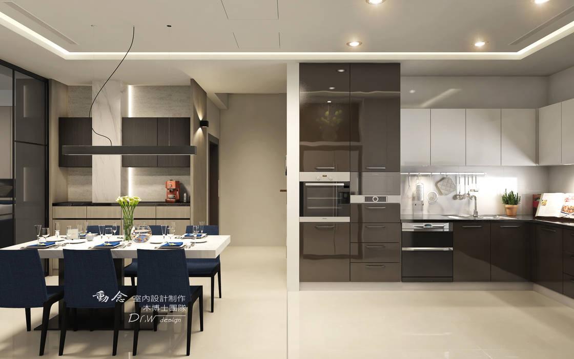 廚房 現代廚房設計點子、靈感&圖片 根據 木博士團隊/動念室內設計制作 現代風 塑木複合材料