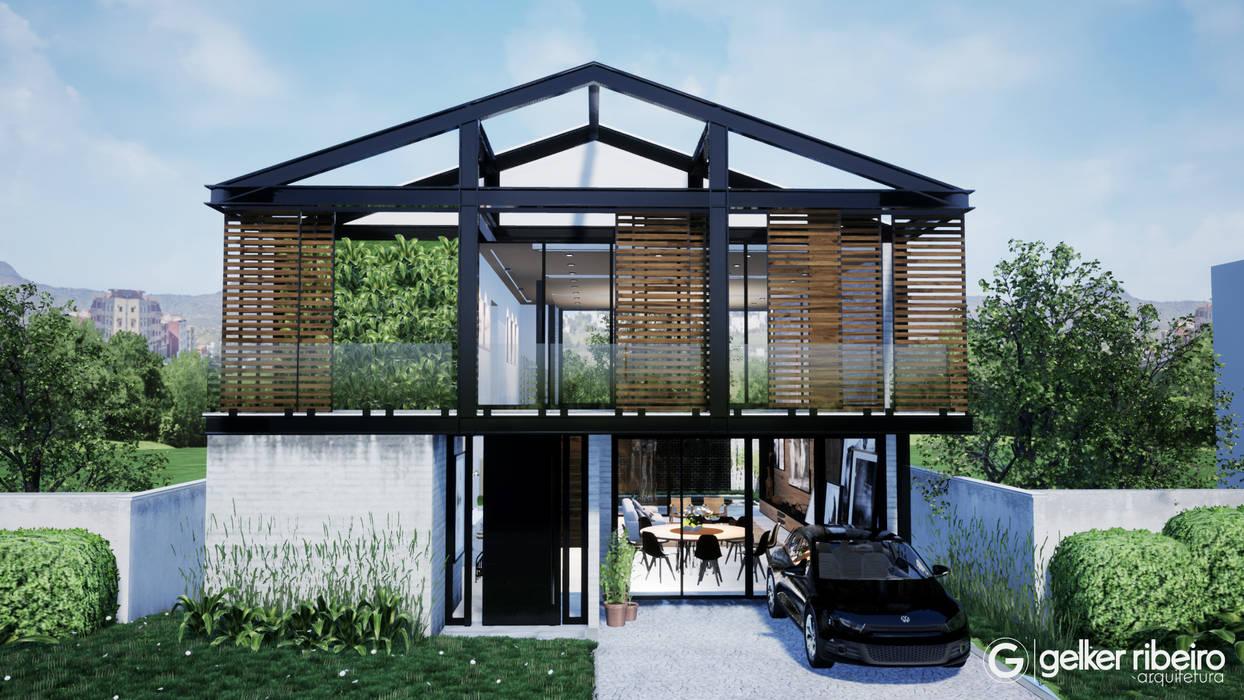 Fachada Casa em Estrutura Metálica por Gelker Ribeiro Arquitetura | Arquiteto Rio de Janeiro Industrial Ferro/Aço