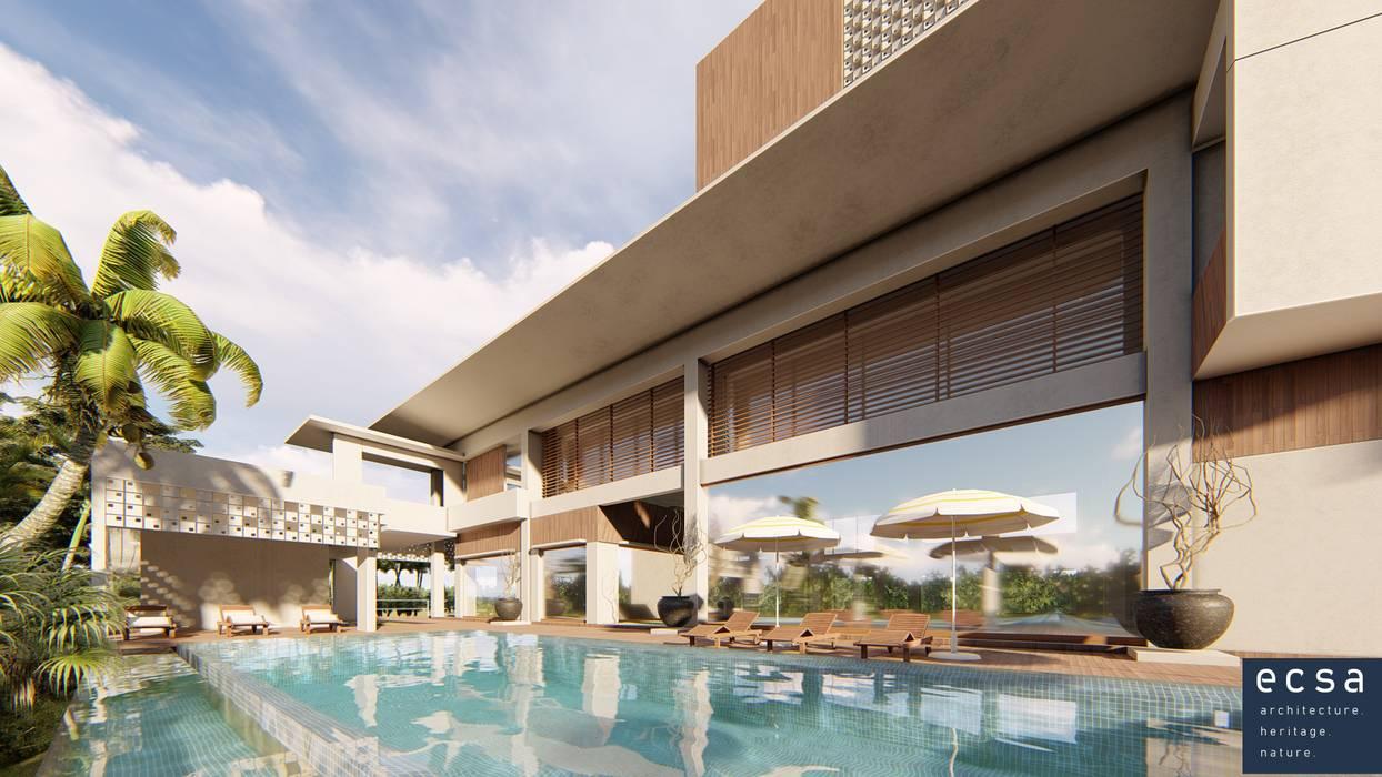 Pool View Oleh ECSA Studio Tropis Komposit Kayu-Plastik