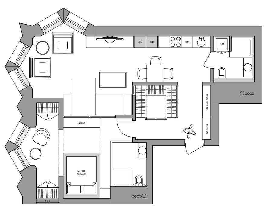 Планировка Дизайн Студия 33 Стены и пол в стиле модерн