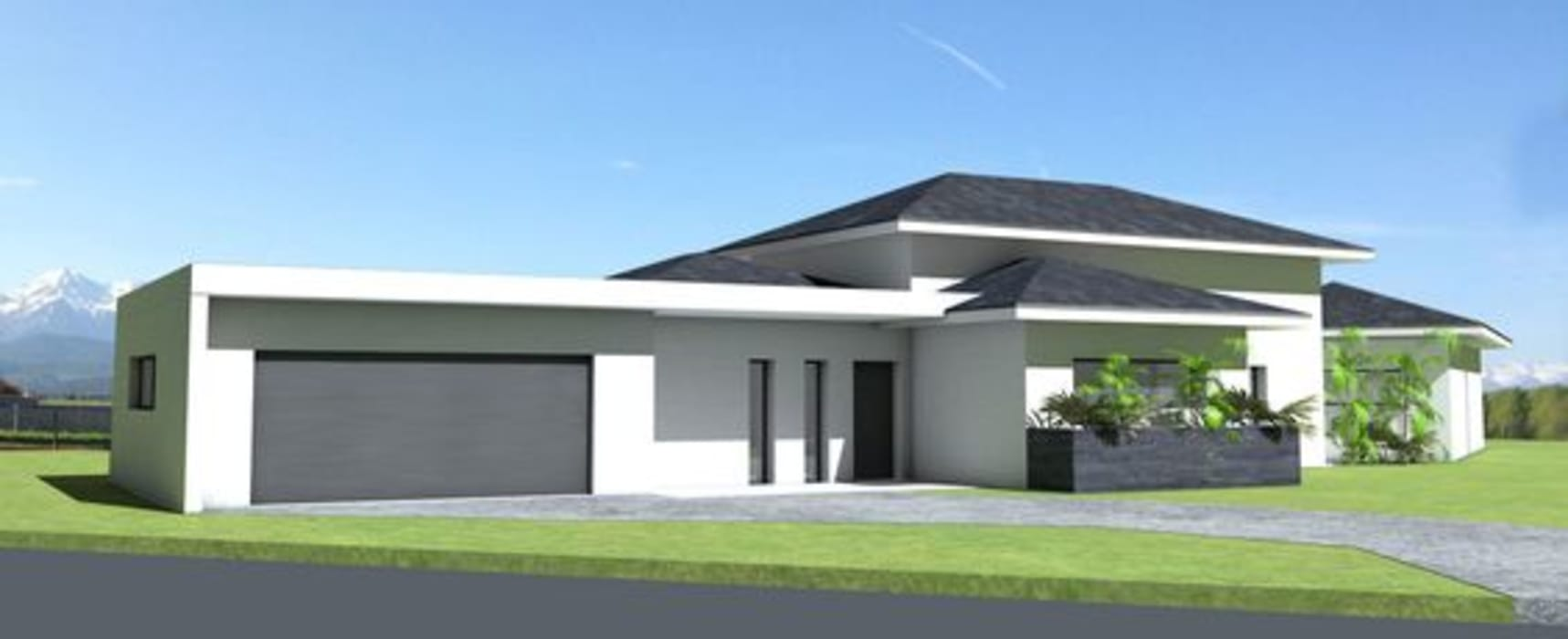 Maison contemporaine à grande terrasse couverte et tuiles ...