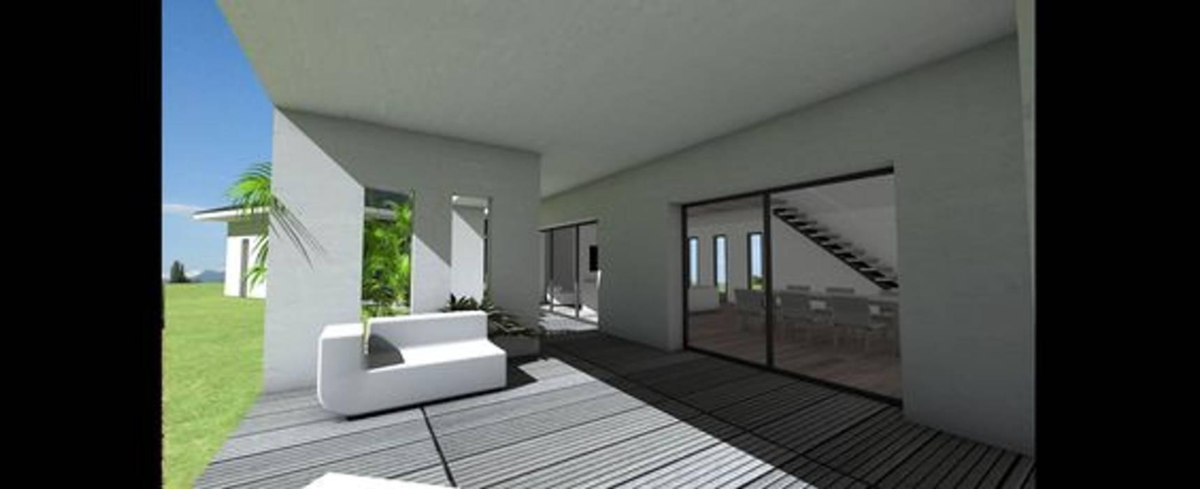 Maison contemporaine à grande terrasse couverte et tuiles noires ...