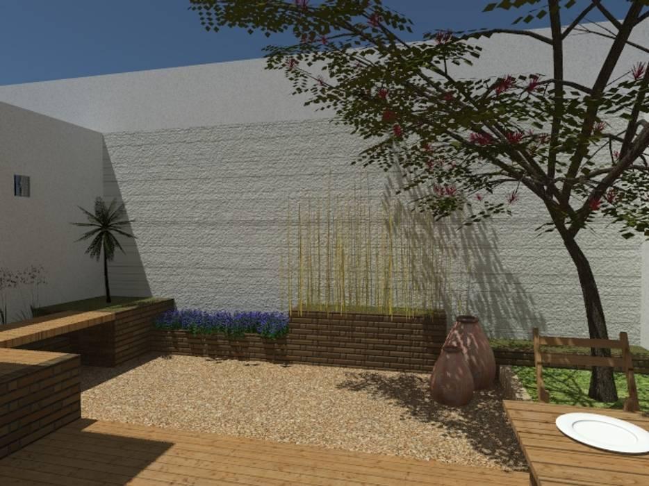 Pérgola minimal en Jardin de Designo Arquitectos Minimalista Piedra