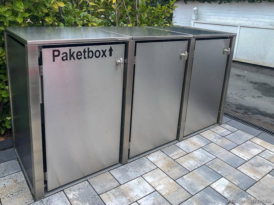 Paketbox & Mülltonnenbox @boxx in Frankfurt von design@garten - Alfred Hart - Design Gartenhaus und Balkonschraenke aus Augsburg Modern Holz-Kunststoff-Verbund