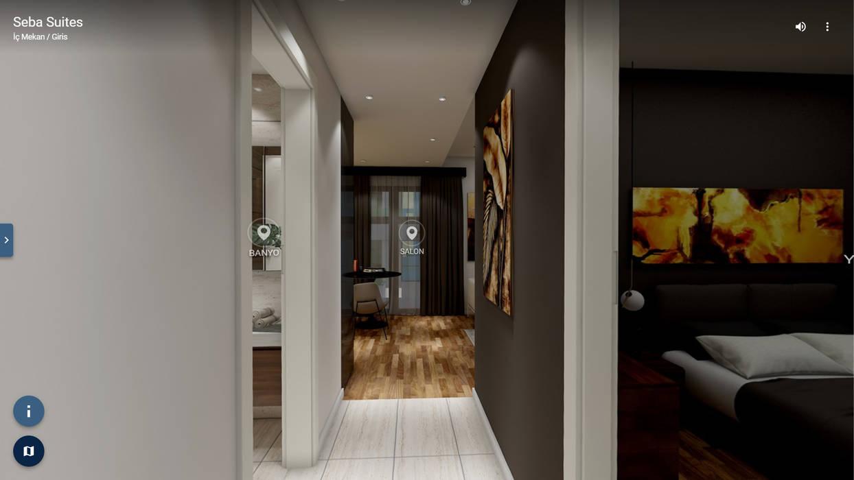 VR ELTA Solutıons – Seba Suites İç Mekan:  tarz Koridor ve Hol