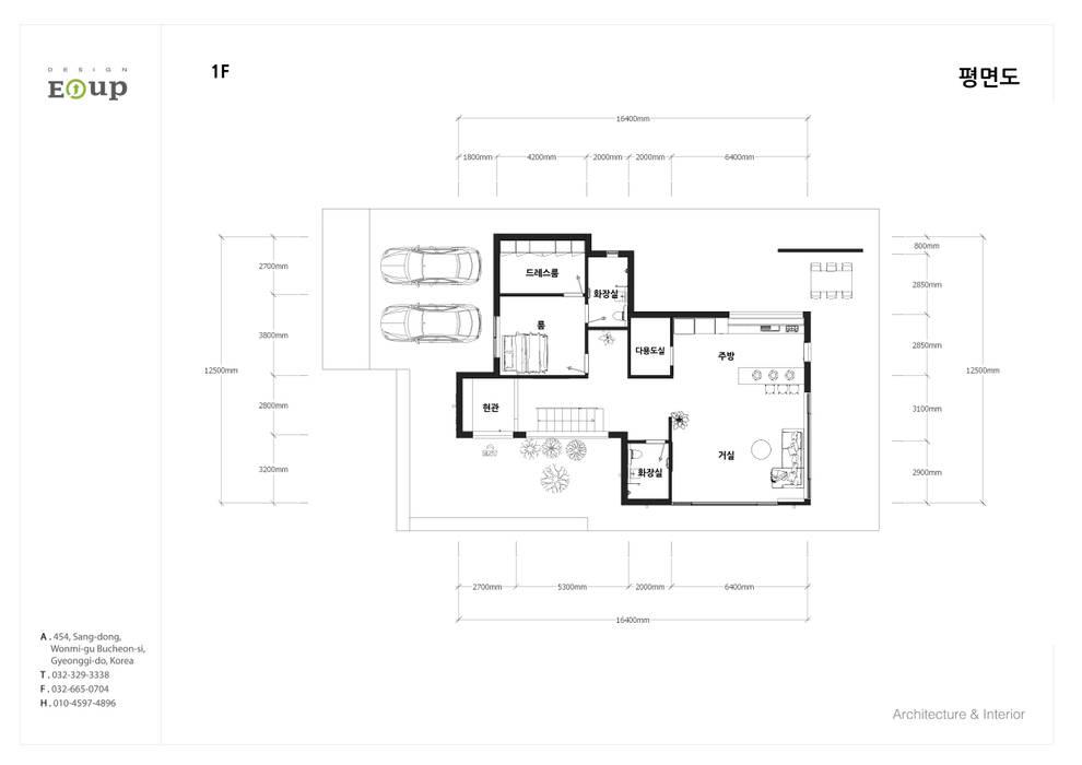 강원도 홍천읍 전원주택 1층 평면도: 디자인 이업의  전원 주택