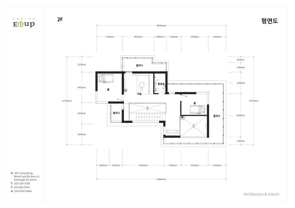 강원도 홍천읍 전원주택 2층 평면도: 디자인 이업의  전원 주택