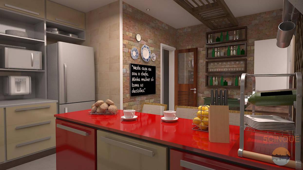 Projeto de interiores da Cozinha contemporânea de estilo fazenda da Residência de Médica em Salvador: Cozinhas  por 5CINQUE ARQUITETURA LTDA