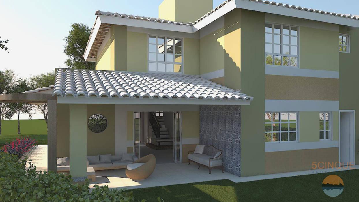 Projeto da fachada remodelada em Salvador: Casas  por 5CINQUE ARQUITETURA LTDA