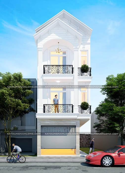 Kiến trúc mặt tiền nhà ống 3 tầng tân cổ điển:  Nhà by Thiết kế nhà đẹp ở Hồ Chí Minh