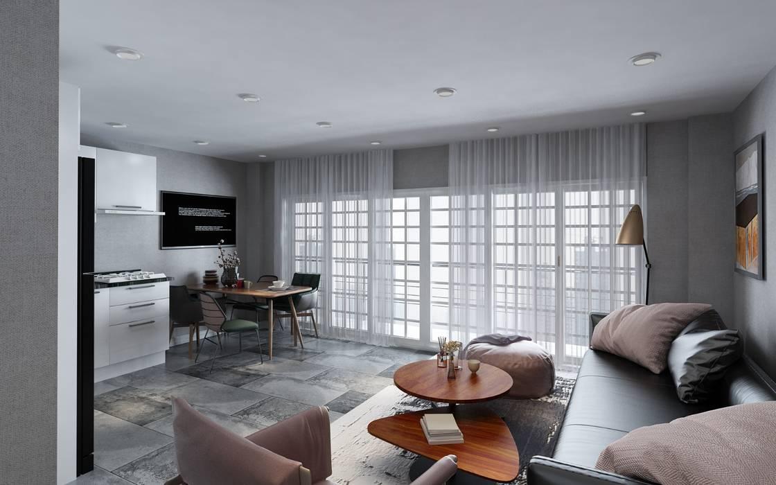KADIGİL MİMARLIK – Şerefhan villa iç mekan tasarımı:  tarz Çatı, Modern