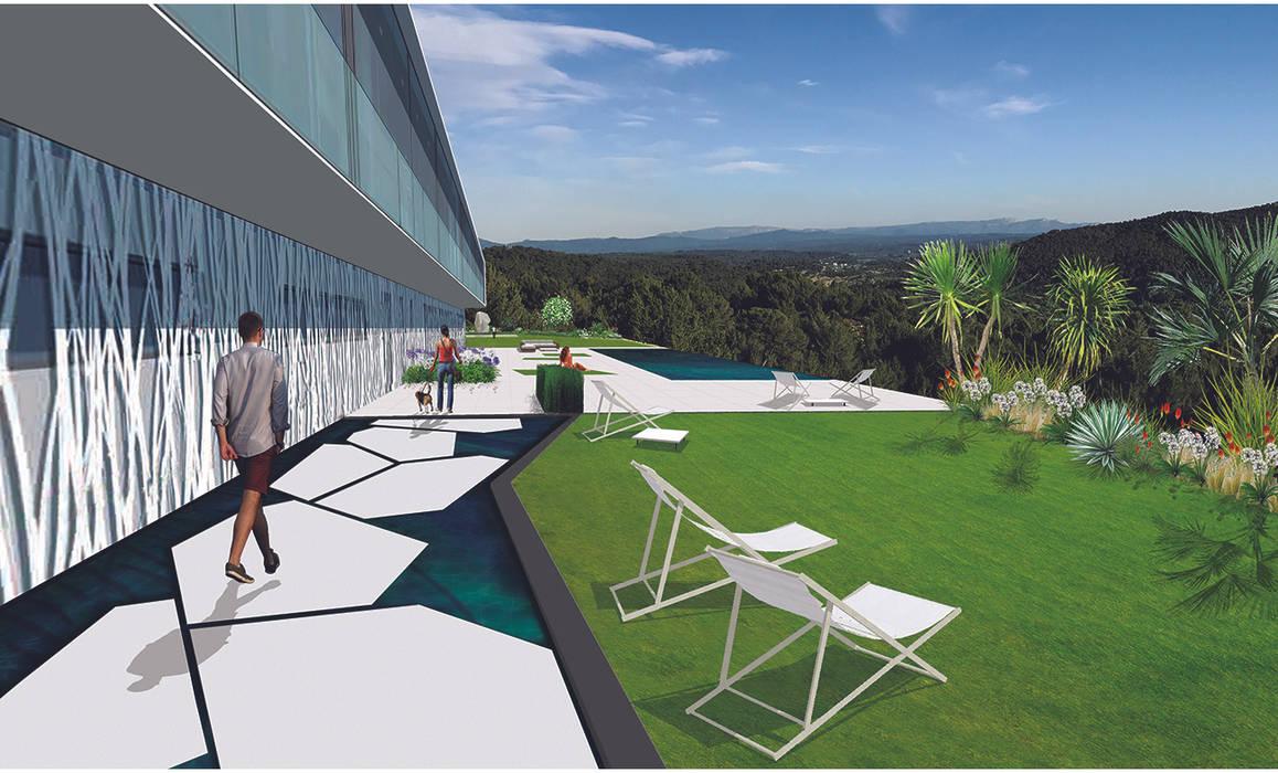 Entrée contemporaine et espaces de vie épurés jardin moderne ...