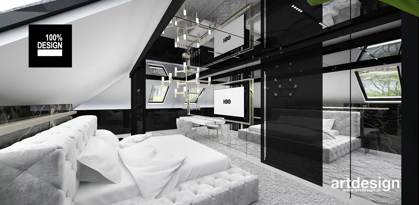 Czarno Biała Aranżacja Sypialni Styl W Kategorii