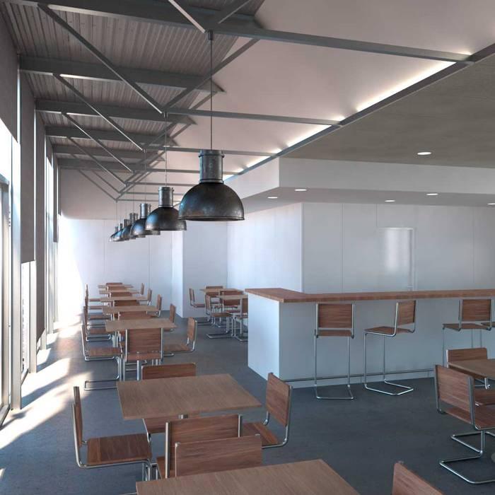 Visual de la zona bar norte por la mañana Divers Arquitectura, especialistas en Passivhaus en Sabadell Bares y clubs de estilo moderno
