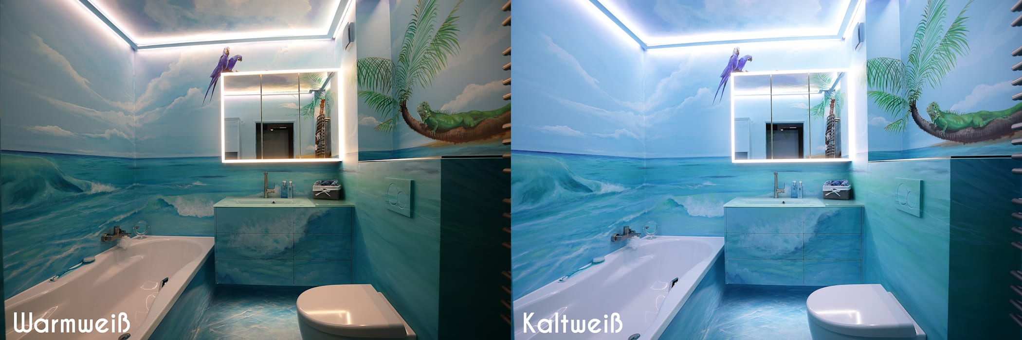 Durch professionelle lichtplanung - badezimmer mit ...