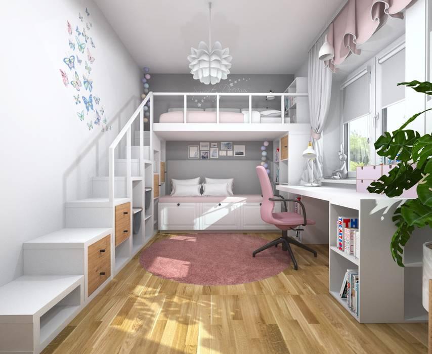Pokój dwóch dziewczynek Nowoczesny pokój dziecięcy od Projektowanie Wnętrz Online Nowoczesny